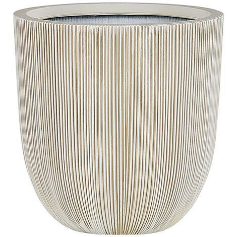 """main image of """"Modern Outdoor Plant Pot Planter Tall Round 33 x ø 31 cm Beige and White Chios"""""""