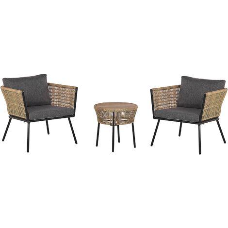 "main image of ""Modern Outdoor Rattan Bistro Set 2-Seater Detachable Pillows Coffee Table Gargano"""