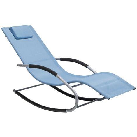 Modern Outdoor Rocking Sun Lounger Blue Fabric Sling Back Carano