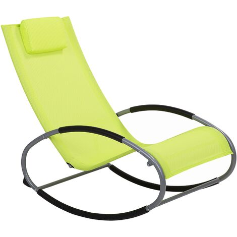 Modern Outdoor Rocking Sun Lounger Lime Green Fabric Campo