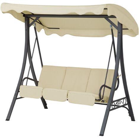 Modern Outdoor Swing Beige Seat Pad Polyester Canopy Steel Frame Garbo