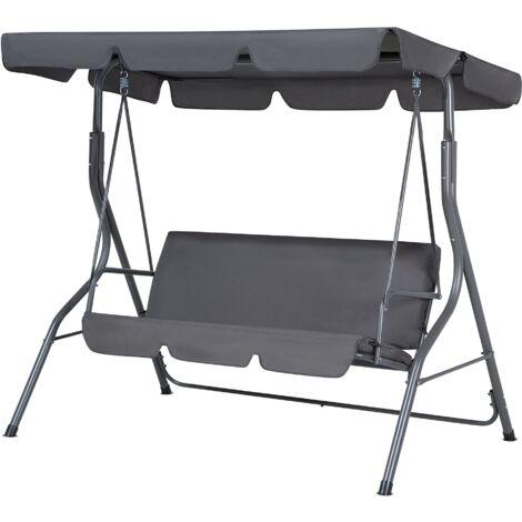 "main image of ""Modern Outdoor Swing Dark Grey Polyester Canopy Steel Frame Seat Pad Chaplin"""