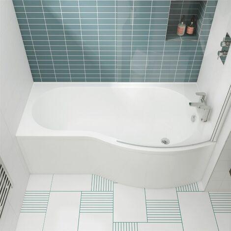 Modern P Shaped Shower Bath 1500mm Right Hand Acrylic Bathtub Leg Set White