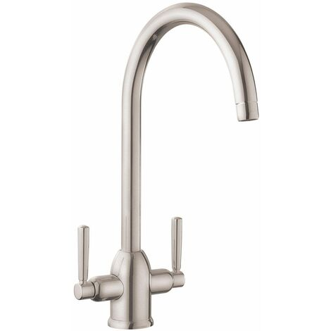 Modern Parma Kitchen Sink Dual Lever Mono Modern Mixer Tap Swivel Spout Brushed