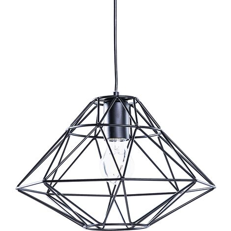 Modern Pendant Cage Lamp Naked Wire Lampshade Geometric Metal Black Guam
