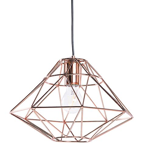 Modern Pendant Cage Lamp Naked Wire Lampshade Geometric Metal Copper Guam