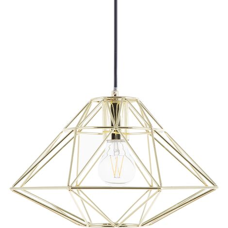 Modern Pendant Cage Lamp Naked Wire Lampshade Geometric Metal Gold Guam