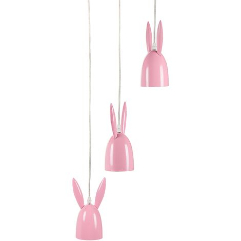 Modern Pendant Ceiling Lamp Metal Iron Bunny Ears 3 Shades Kids Room Pink Rabbit