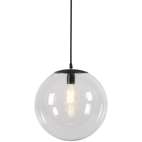 Modern Pendant Lamp 35cm Black with Clear Glass Shade - Pallon
