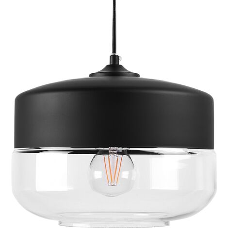 Modern Pendant Lamp Black Top Round Clear Glass Transparent Shade Murray