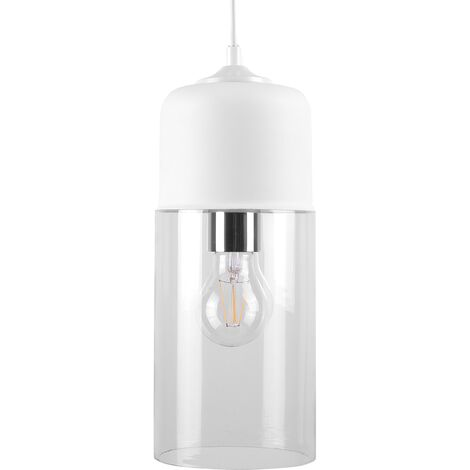 Modern Pendant Lamp Ceiling Light Clear Glass Cylindrical Shade Purus