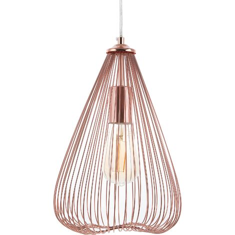Modern Pendant Lamp Ceiling Light Wire Metal Cage Shade Copper Conca