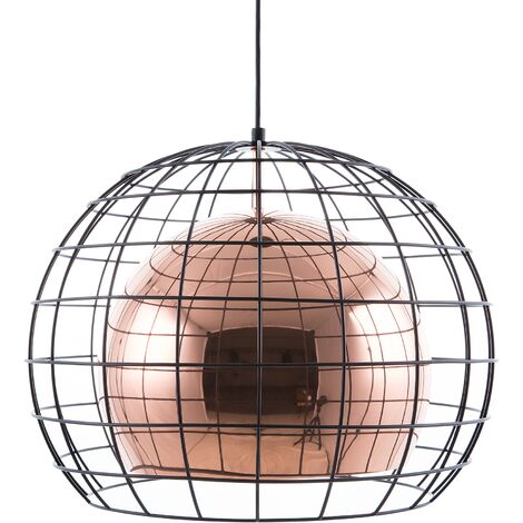 Modern Pendant Lamp Ceiling Light Wire Metal Cage Shade Copper Liri