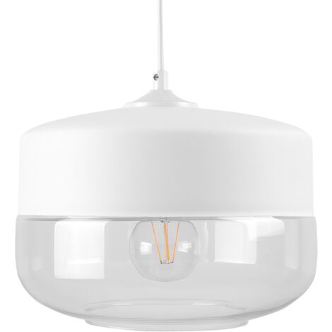 Modern Pendant Lamp White Top Round Clear Glass Transparent Shade Murray