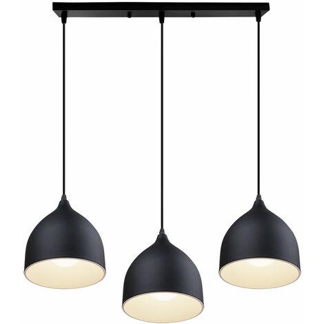 Modern Pendant Light 3 Lights Metal Hanging Ceiling Lamp for Kitchen Island Dining Room Bar,Black
