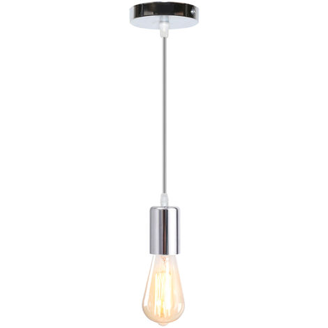 Modern Pendant Light Ceiling Simple Suspension Flex Hanging Lamp E27 Holder Chandelier Fitting, Silver