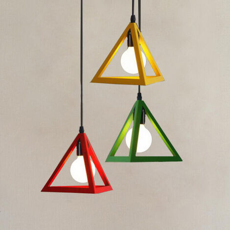 """main image of """"Modern Pendant Light Triangle Vintage Hanging Light Colorful 3 Lights Pendant Lamp Creative 3 Colors Retro Chandelier for Kitchen Farmhouse Hallway Indoor(Red+Yellow+Green)"""""""
