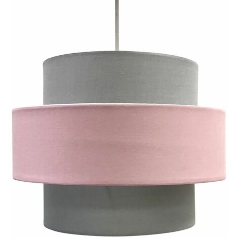 Modern Pink or Grey Easy Fit Two Tier Ceiling Light Shade Fabric Pendant
