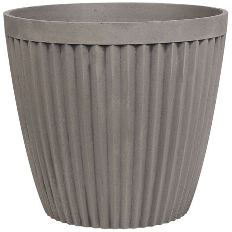 Modern Plant Pot Taupe Stone Mixture Round Indoor Outdoor 44 x 44 cm Poka