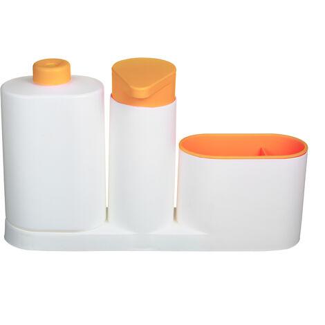 Modern Plastic fregadero de cocina encimera liquido Jabonera Dispensador Bomba de llenado de botella Caddy con compartimentos de almacenamiento Mantiene Tiendas Esponjas Depuradores y cepillos, Naranja