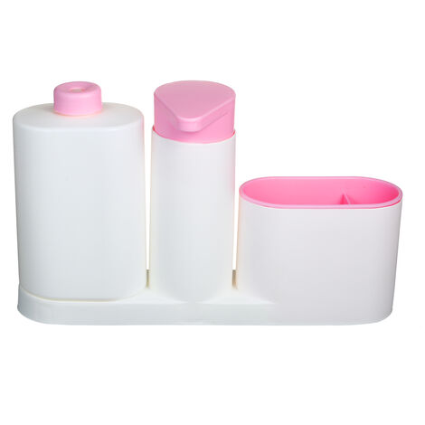 Modern Plastic fregadero de cocina encimera liquido Jabonera Dispensador Bomba de llenado de botella Caddy con compartimentos de almacenamiento Mantiene Tiendas Esponjas Depuradores y cepillos, Rosa