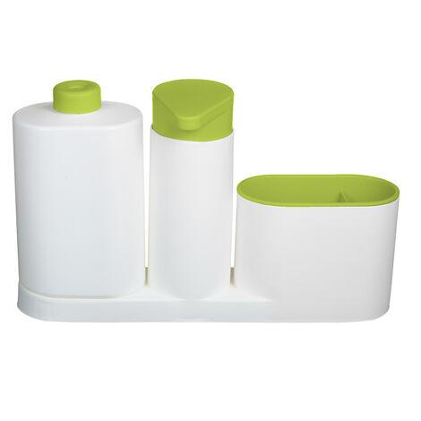 Modern Plastic fregadero de cocina encimera liquido Jabonera Dispensador Bomba de llenado de botella Caddy con compartimentos de almacenamiento Mantiene Tiendas Esponjas Depuradores y cepillos, verde