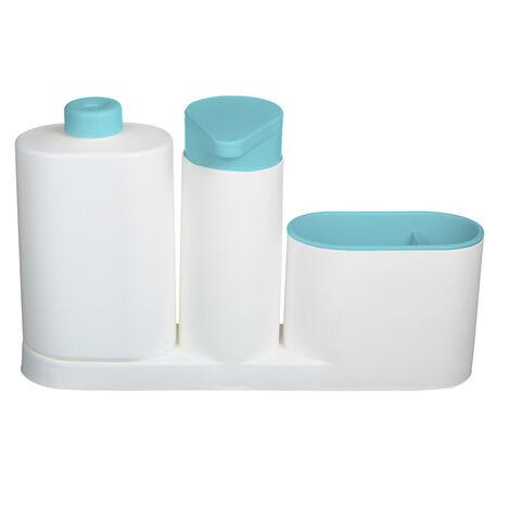 Modern Plastic fregadero de cocina encimera liquido Jabonera Dispensador Bomba de llenado de la botella Caddy con compartimentos de almacenamiento se mantiene, azul