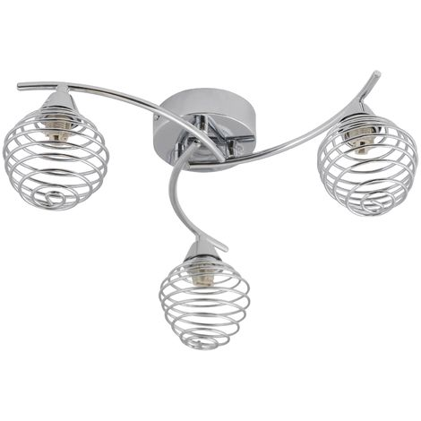 Modern Polished Chrome 3 Way Twist Flush Ceiling Light Fitting Spiral Shades