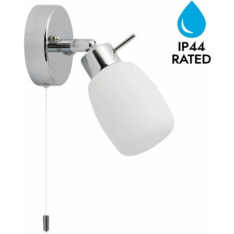 Modern Polished Chrome & Glass IP44 Bathroom Wall Light With Pull Cord Switch