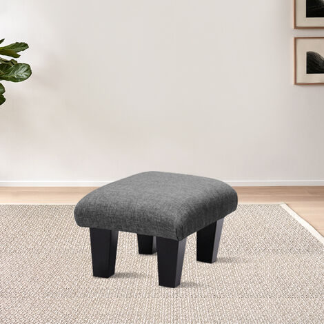 Modern Pouffe Rest Stool Small Footstool Tufted Nailhead Ottoman Bench Seat Chair Grey Fabric