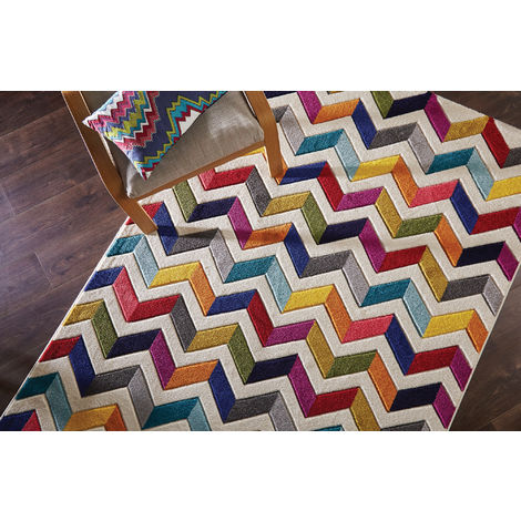 Modern Quality Handcarved Geometric Design Multi Colour Soft Bolero Rug