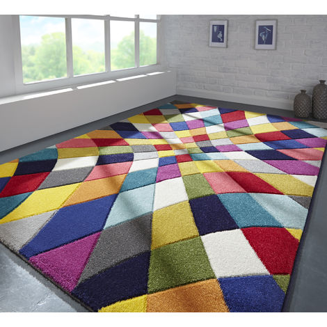 Modern Quality Handcarved Geometric Design Multi Colour Soft Rhumba Rug