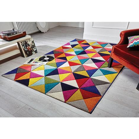 Modern Quality Handcarved Geometric Design Multi Colour Soft Samba Rug
