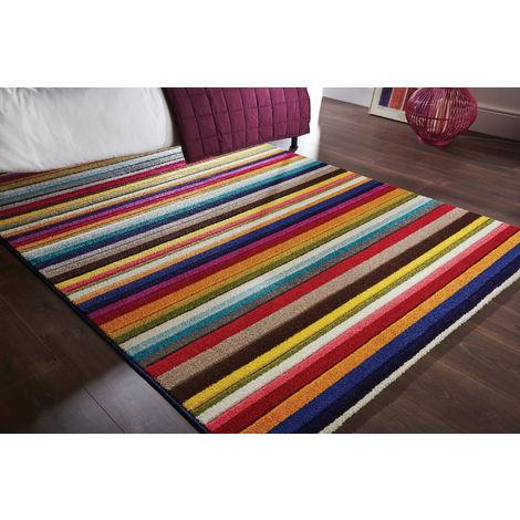 Modern Quality Handcarved Geometric Design Multi Colour Soft Tango Rug