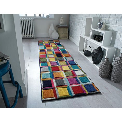 Modern Quality Handcarved Geometric Design Multi Colour Soft Waltz Rug