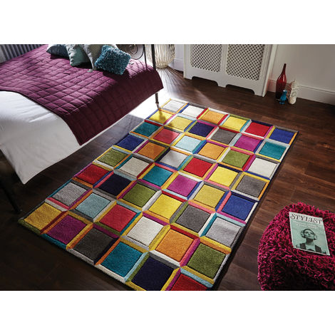 Modern Quality Handcarved Geometric Design Multi Colour Soft Waltz Rug