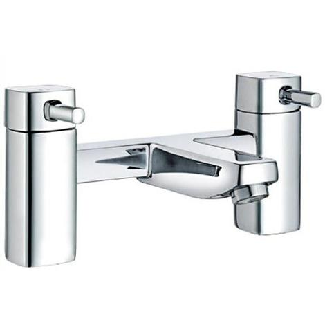 Modern Quarter Turn Levers Chrome Square Bathroom Bath Mixer Filler Taps (ICE 5)