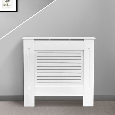 Modern Radiator Cover MDF Cabinet with Modern Horizontal Style Slats White