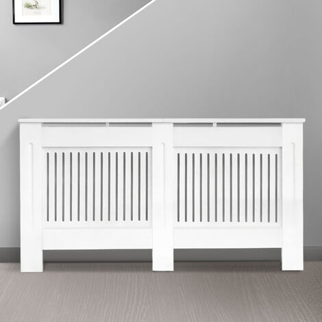 Modern Radiator Cover MDF Cabinet with Modern Vertical Style Slats White
