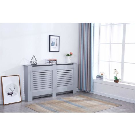Modern Radiator Cover Wood MDF Wall Cabinet Grey-Size L