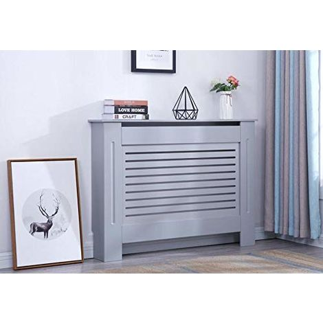 Modern Radiator Cover Wood MDF Wall Cabinet Grey-Size M