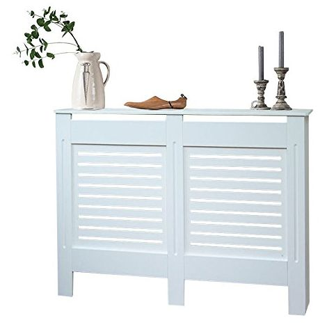 Modern Radiator Cover Wood MDF Wall Cabinet White-Size L