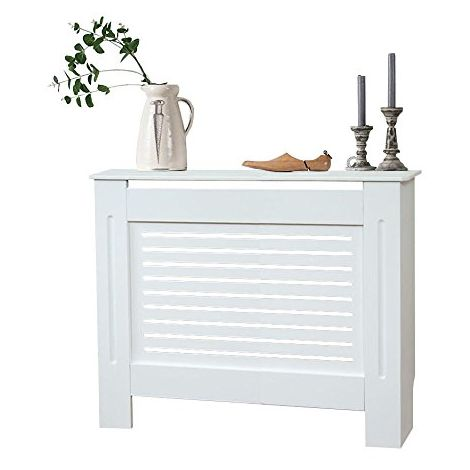 Modern Radiator Cover Wood MDF Wall Cabinet White-Size M