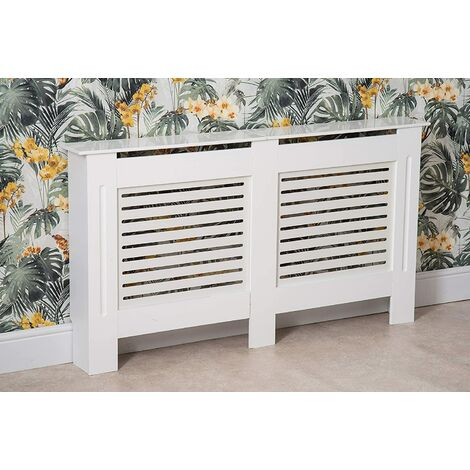Modern Radiator Cover Wood MDF Wall Cabinet White-Size XL