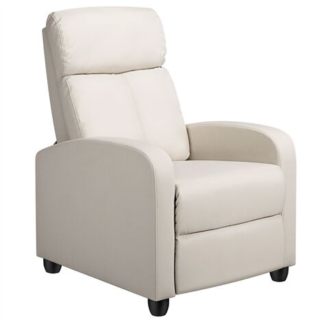 Modern Recliner PU Leather Upholstered Sofa Armchair Lounge Single Padded Seat W/Adjustable Leg Rest for Home/Living Room Beige