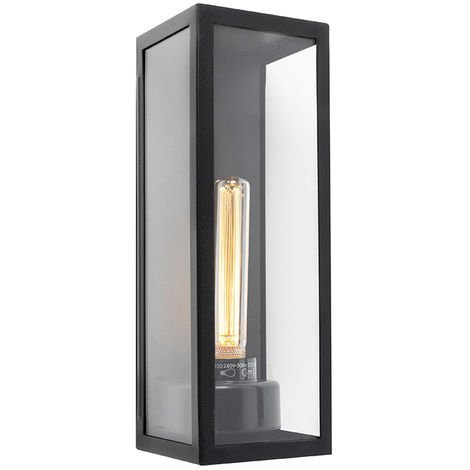 Modern Rectangle Wall Lamp Black IP44 - Rotterdam Long