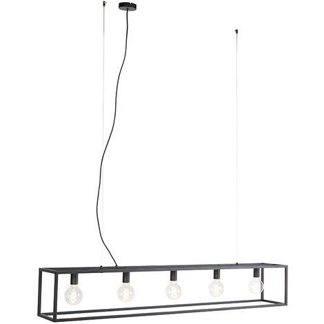 Modern rectangular hanging lamp black 5-light - Cage