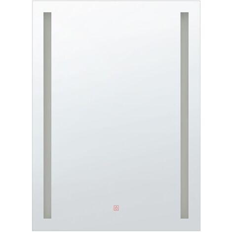 Modern Rectangular Wall Barhroom LED Mirror Vanity 60 x 80 cm Silver Martinet