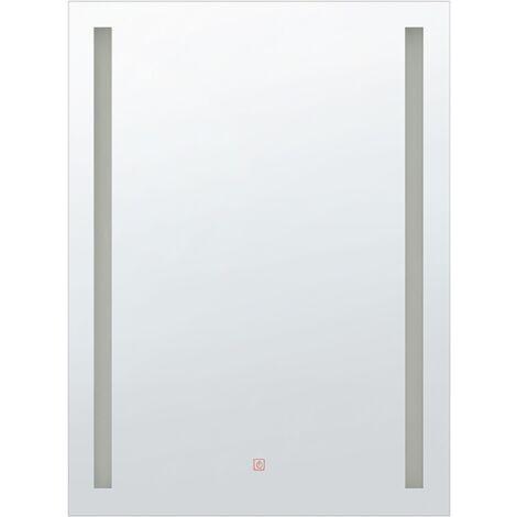 Modern Rectangular Wall Barhroom LED Mirror Vanity 70 x 90 cm Silver Martinet