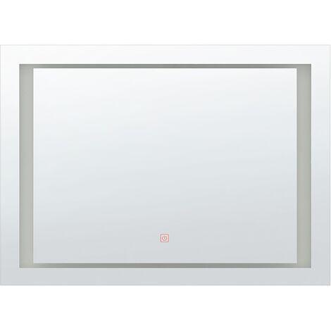 Modern Rectangular Wall Mirror Silver Bathroom Bedroom LED 60 x 80 cm Eyre